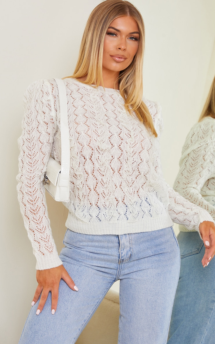 White All Over Pointelle Knitted Sweater 1