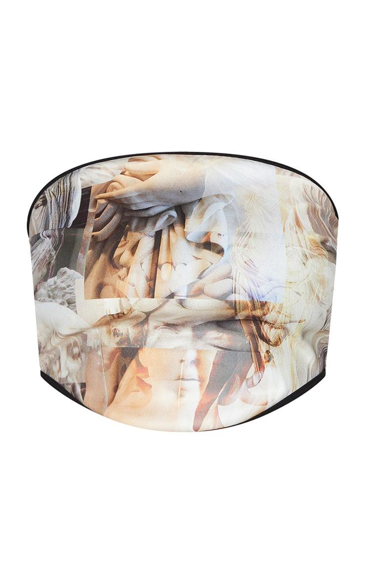 Stone Woven Abstract Renaissance Print Tie Back Corset Bandeau 5