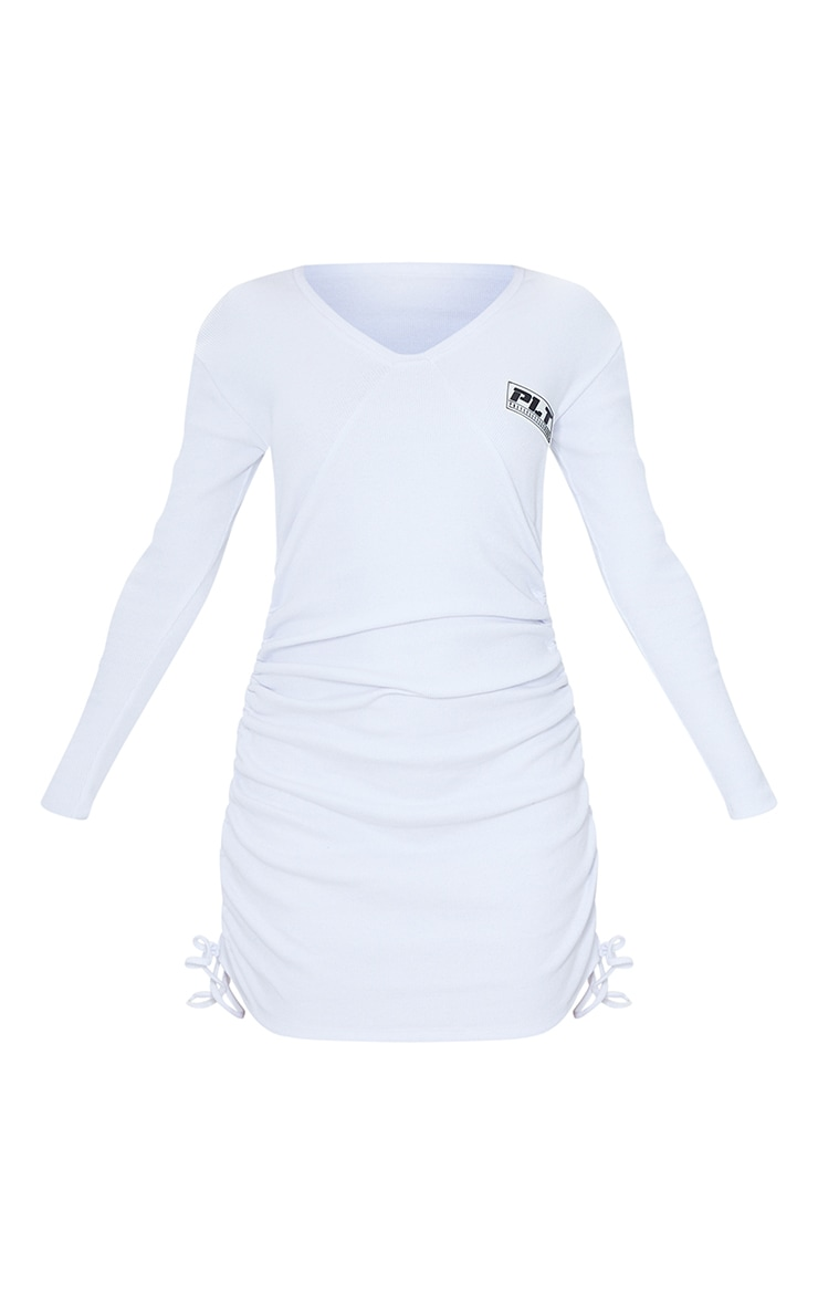 PRETTYLITTLETHING White Shoulder Pad Badge Rib Ruched Bodycon Dress 5
