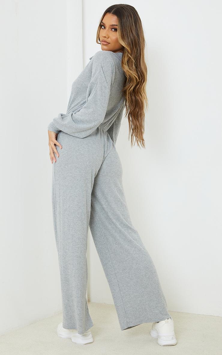 Grey Marl Brushed Rib Shirt Style Jumpsuit 2