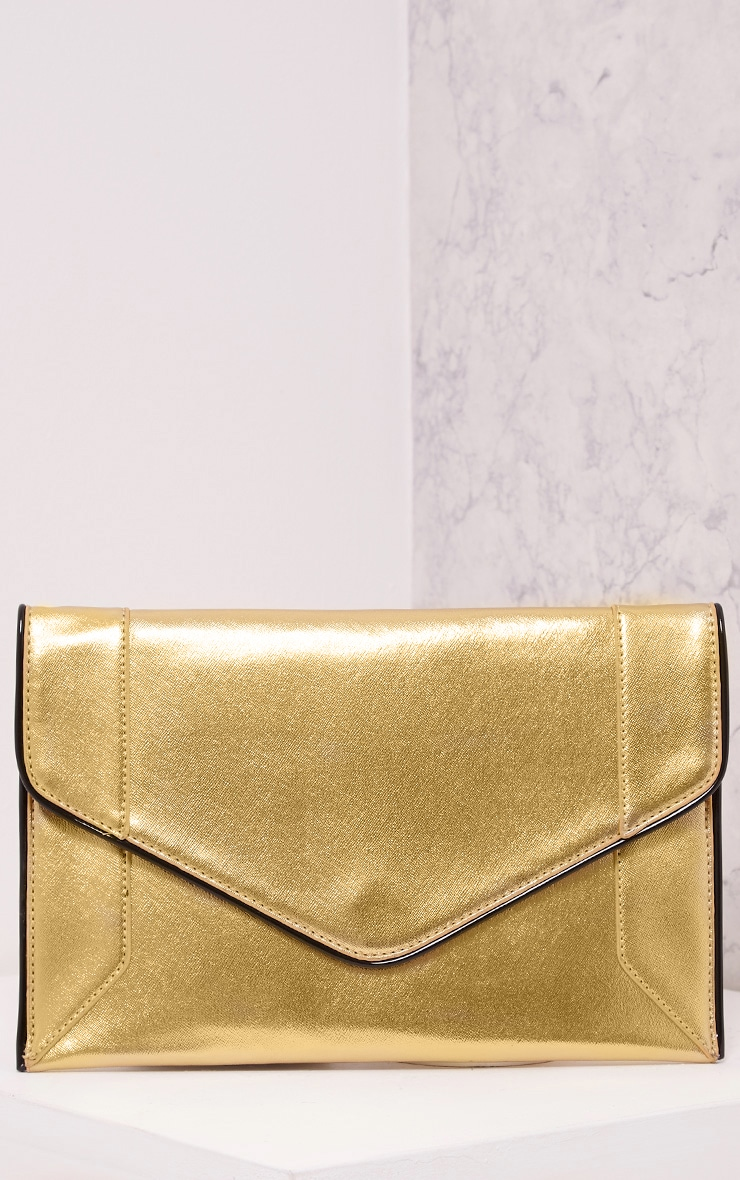 Wilona Gold Metallic Envelope Clutch 1