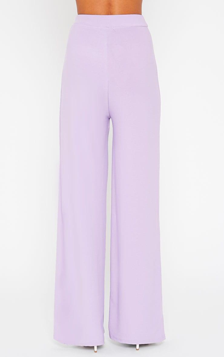 Zafia Lilac Crepe Palazzo Trousers 4