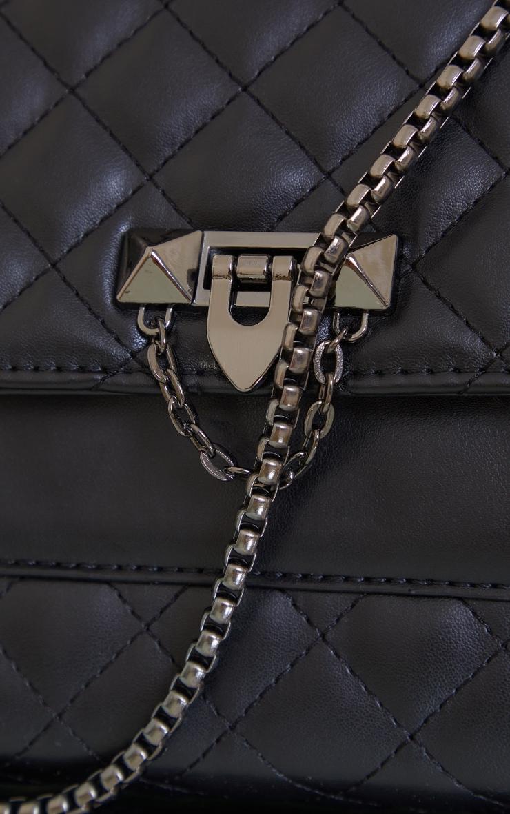 Black Diamond Quilted Cross Body Bag 4