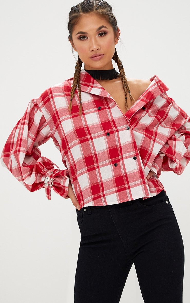 Divya Red Check Cuff Sleeve Off Shoulder Shirt 1