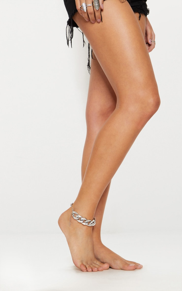 Silver Chunky Chain Anklet 2