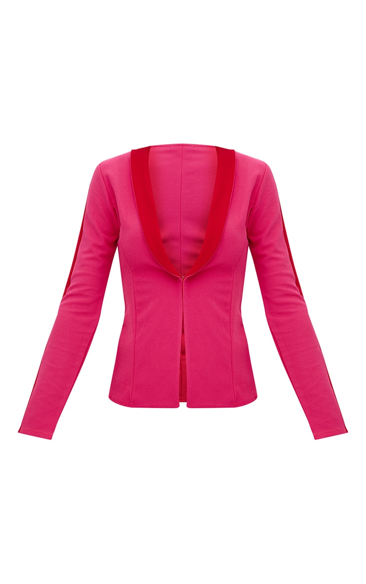 Hot Pink Contrast Panel Blazer 3