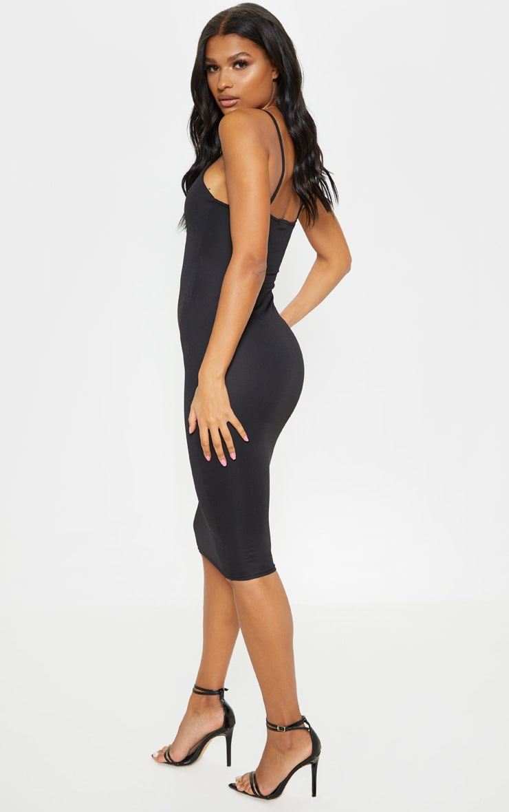 Essential Black Cotton Blend Strappy Midi Dress 2