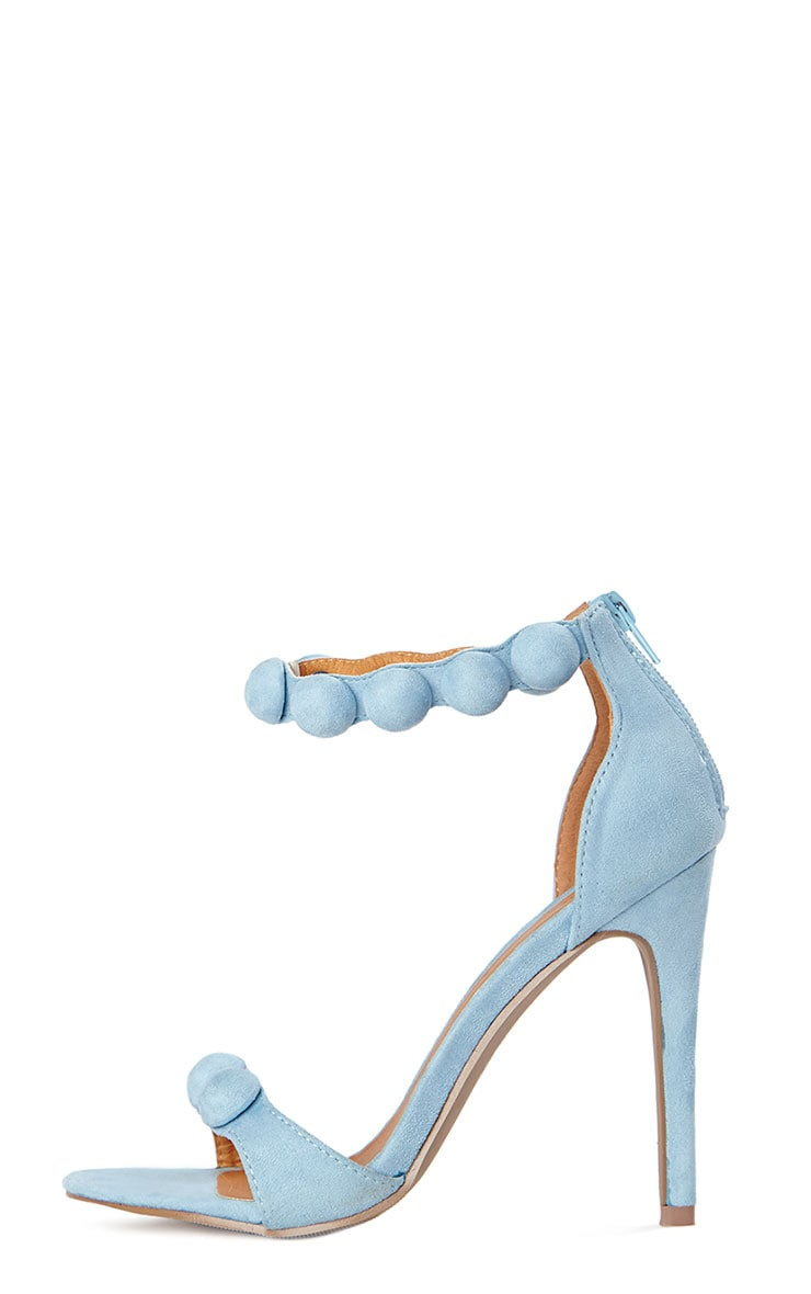 Una Powder Blue Studded Strappy Heeled Sandals 6