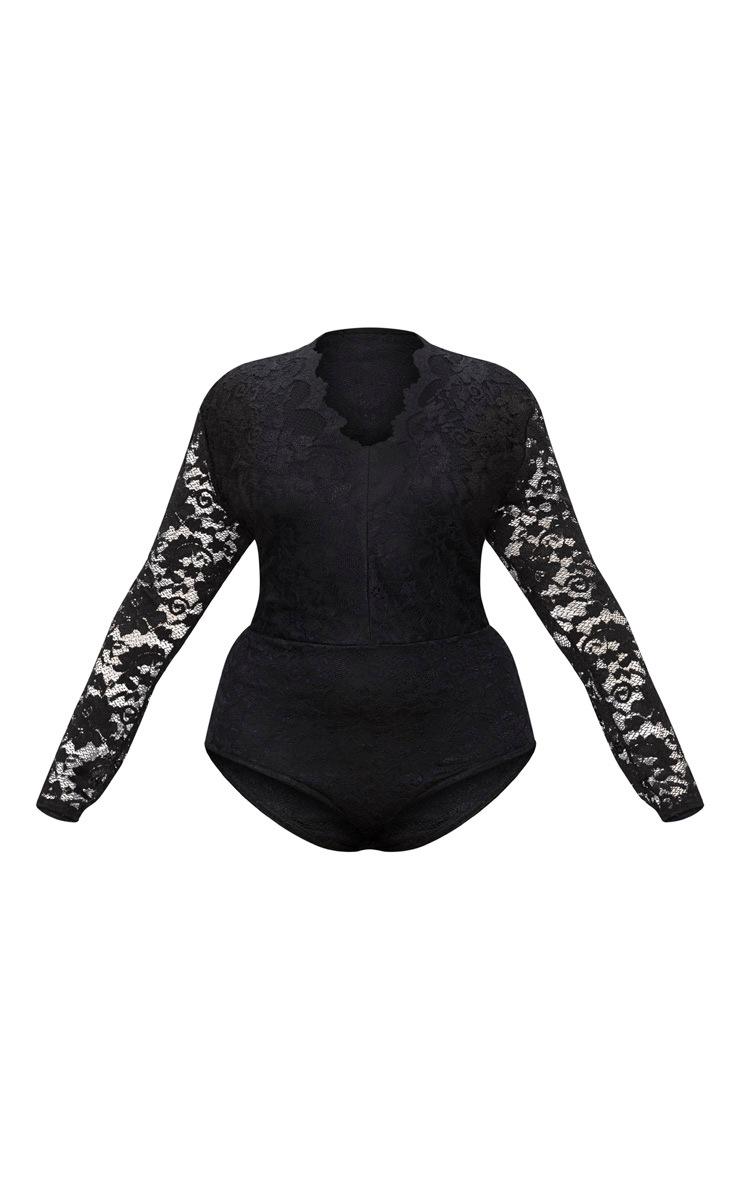 Plus Black Plunge Lace Bodysuit 3