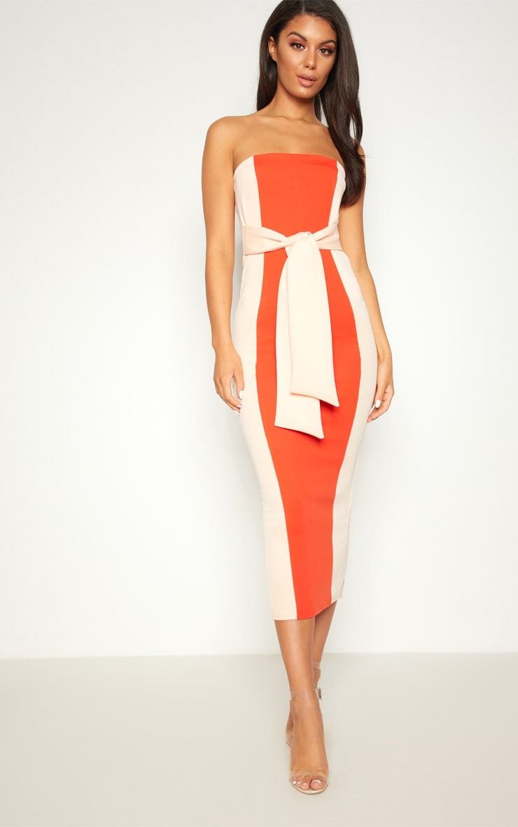 Bright Orange Colour Block Tie Detail Midaxi Dress