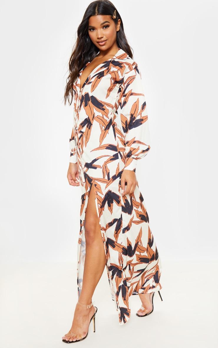 White Tropical Print Split Front Maxi Shirt Dress 4