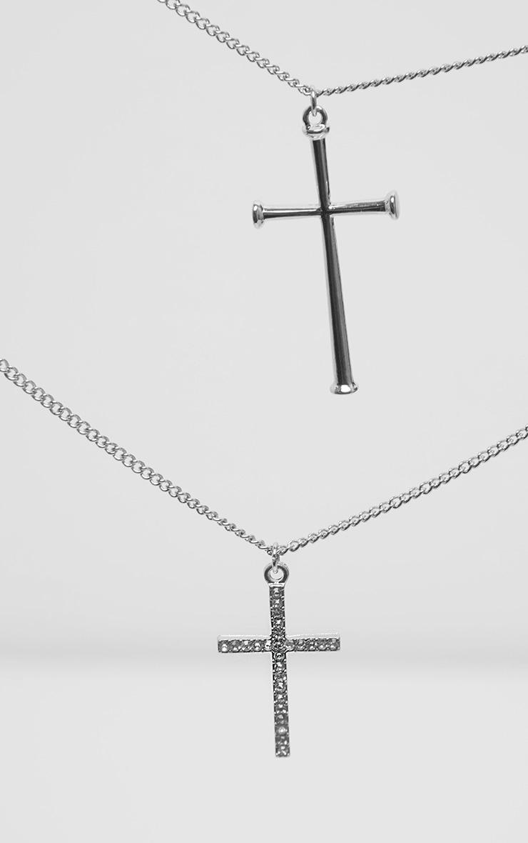 Silver Diamante Double Cross Layering Necklace 3