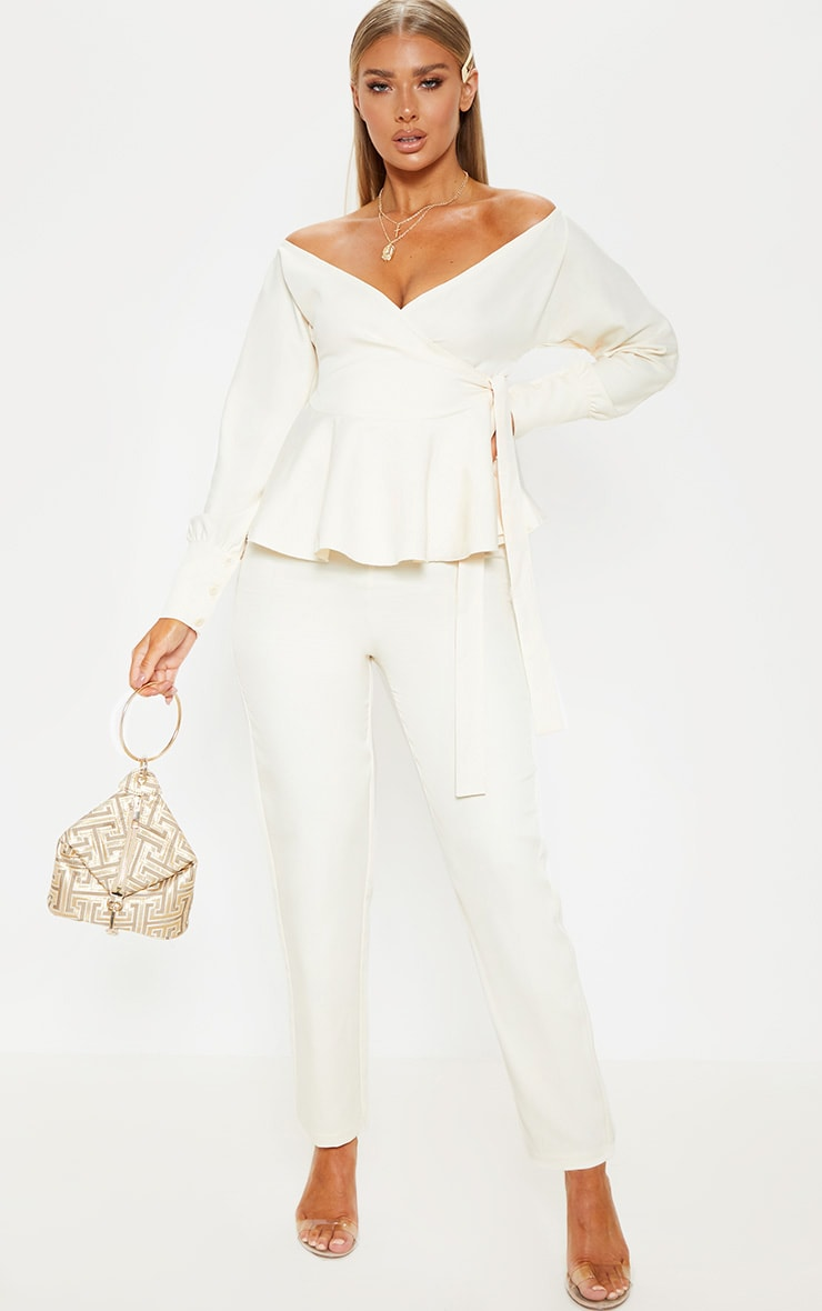 Cream High Waisted Cigarette Trouser 1