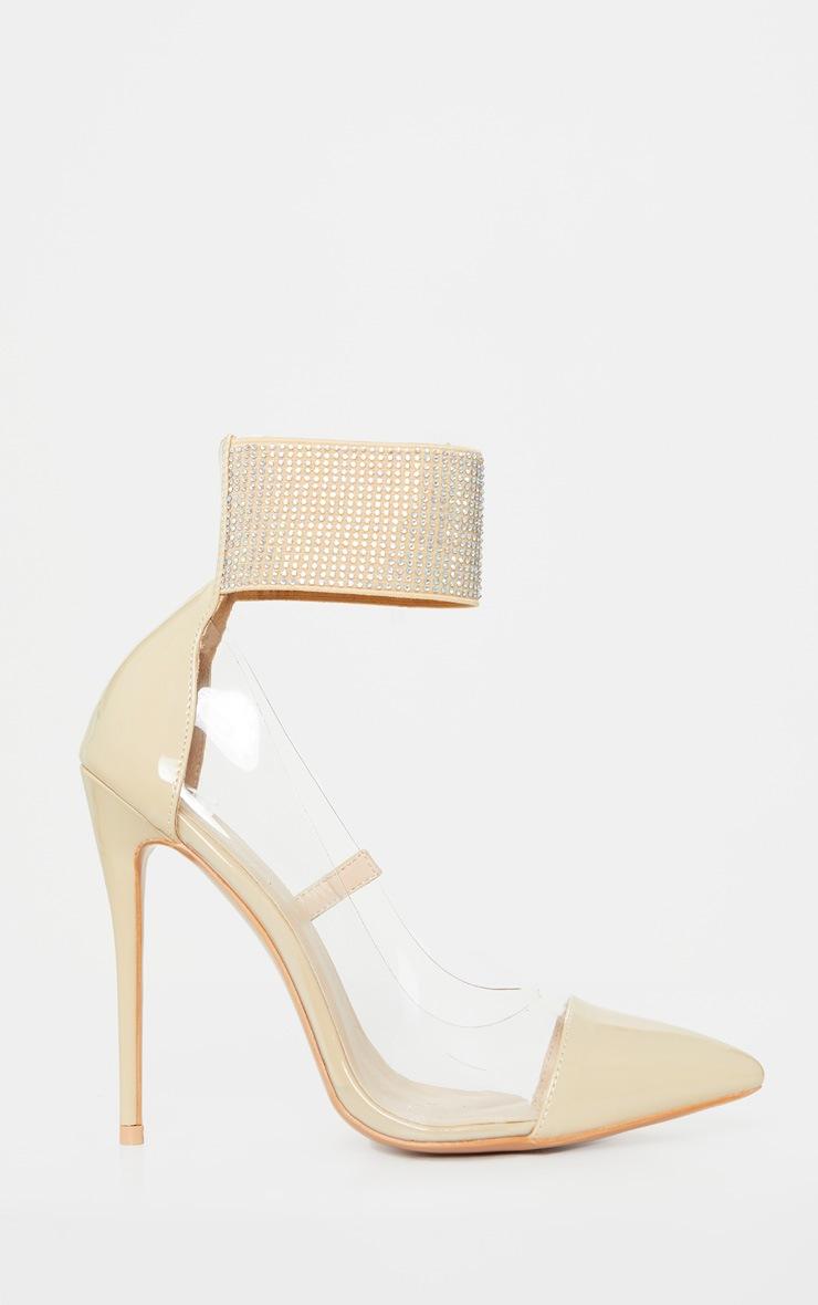 Nude Diamante Cuff Court Shoe 3