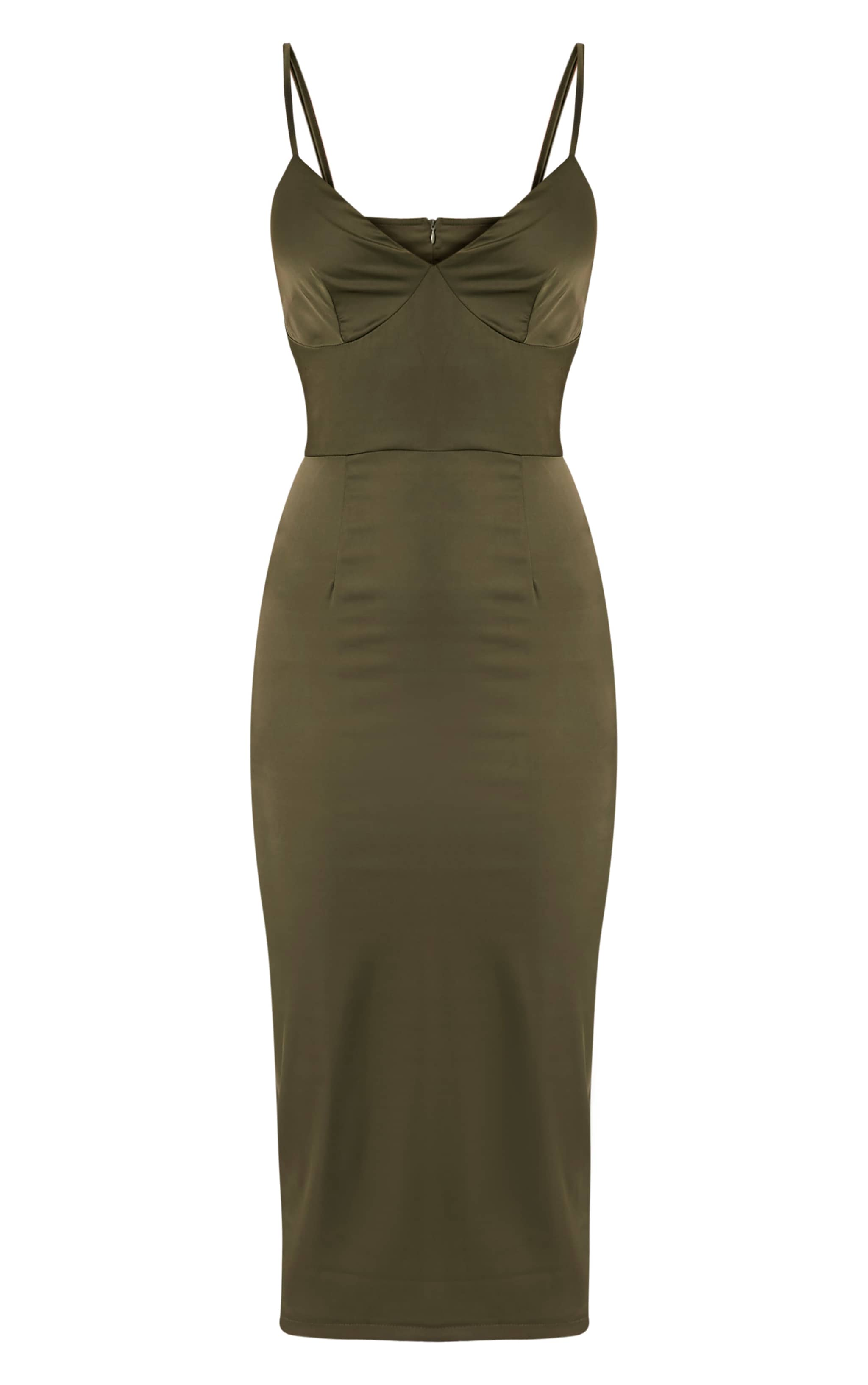 Aisha Khaki Satin Panel Midi Dress 3
