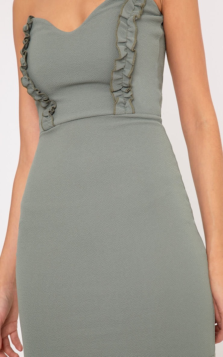 Darliella Khaki Bandeau Ruffle Detail Bodycon Dress 5