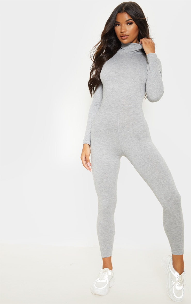 Grey Roll Neck Long Sleeve Jumpsuit 1