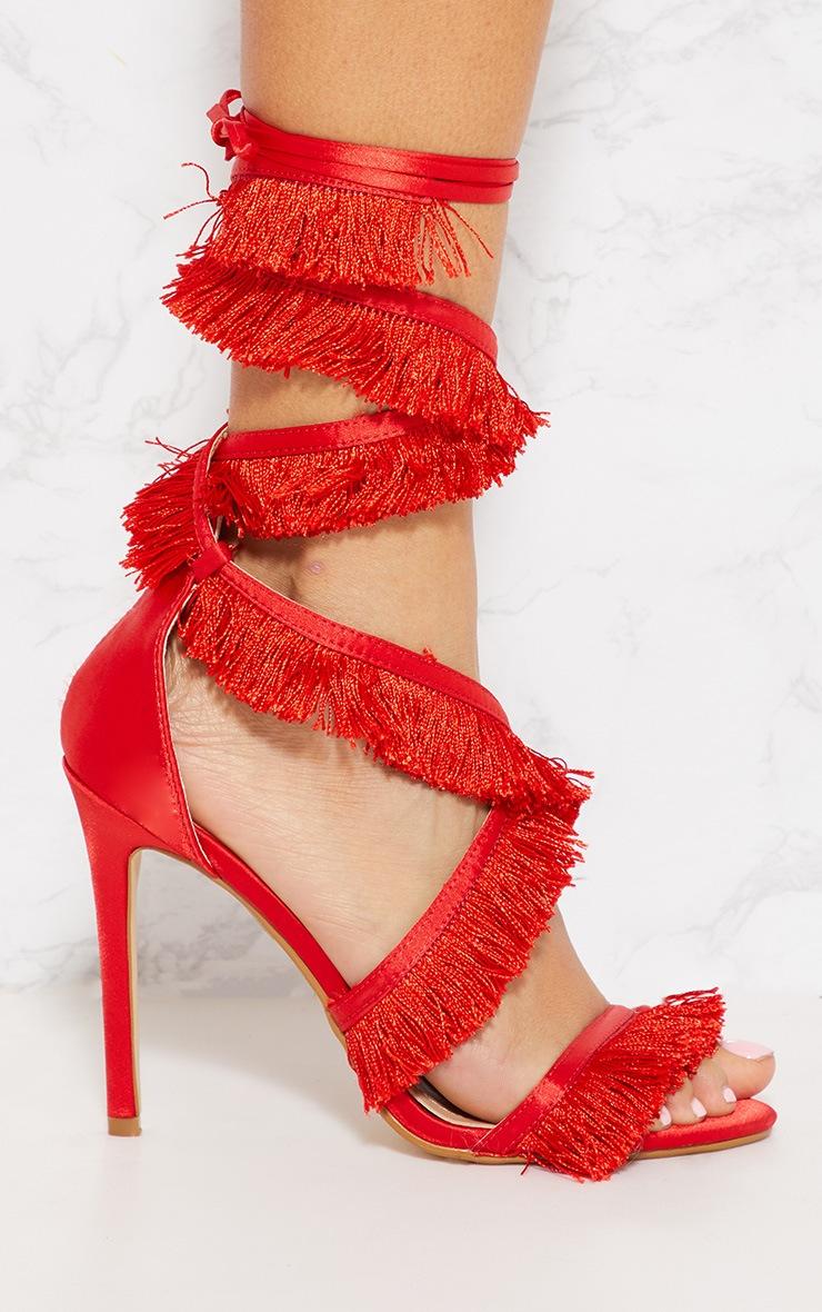 Red Fringe Tassel Leg Tie Sandal 3