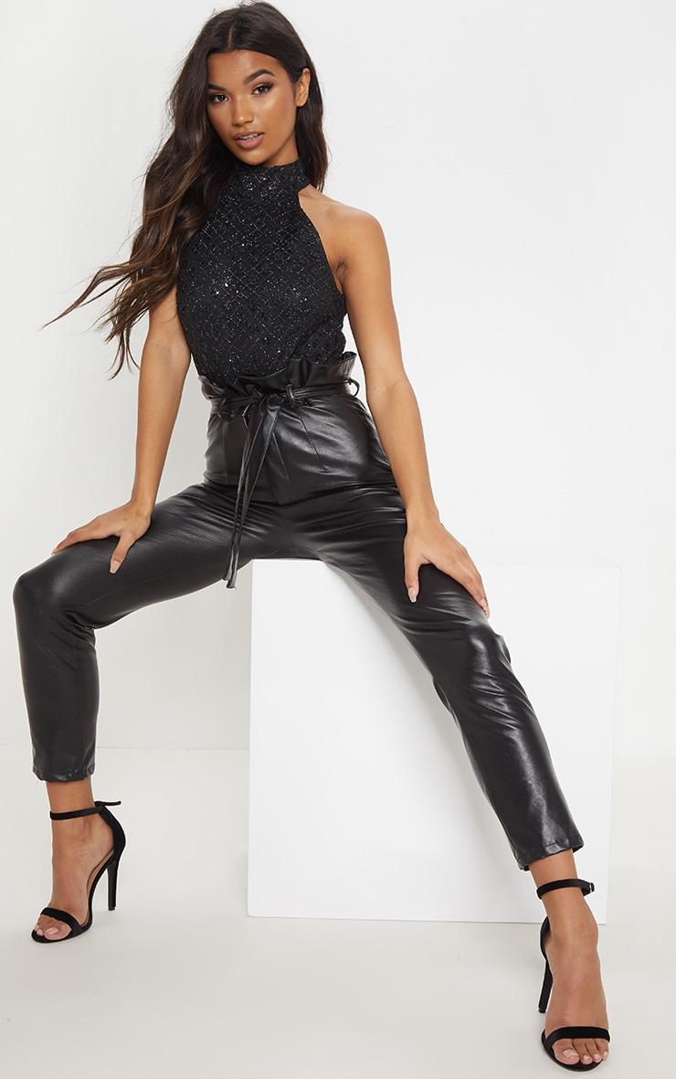 Black Halterneck Glitter Bodysuit 5