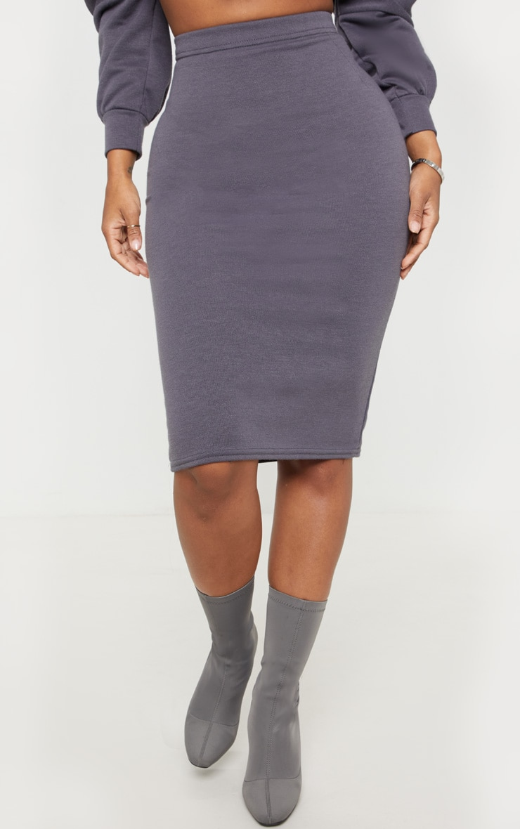 Shape Charcoal Sweat Midi Skirt  2