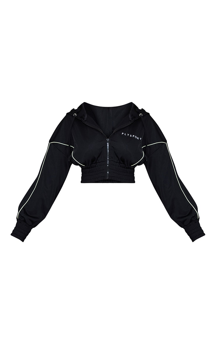 Black Piping Contrast Cropped Sports Hoody 5