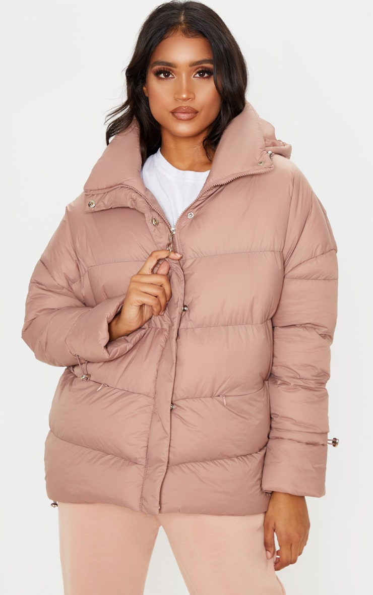 Taupe Hooded Puffer Jacket 1