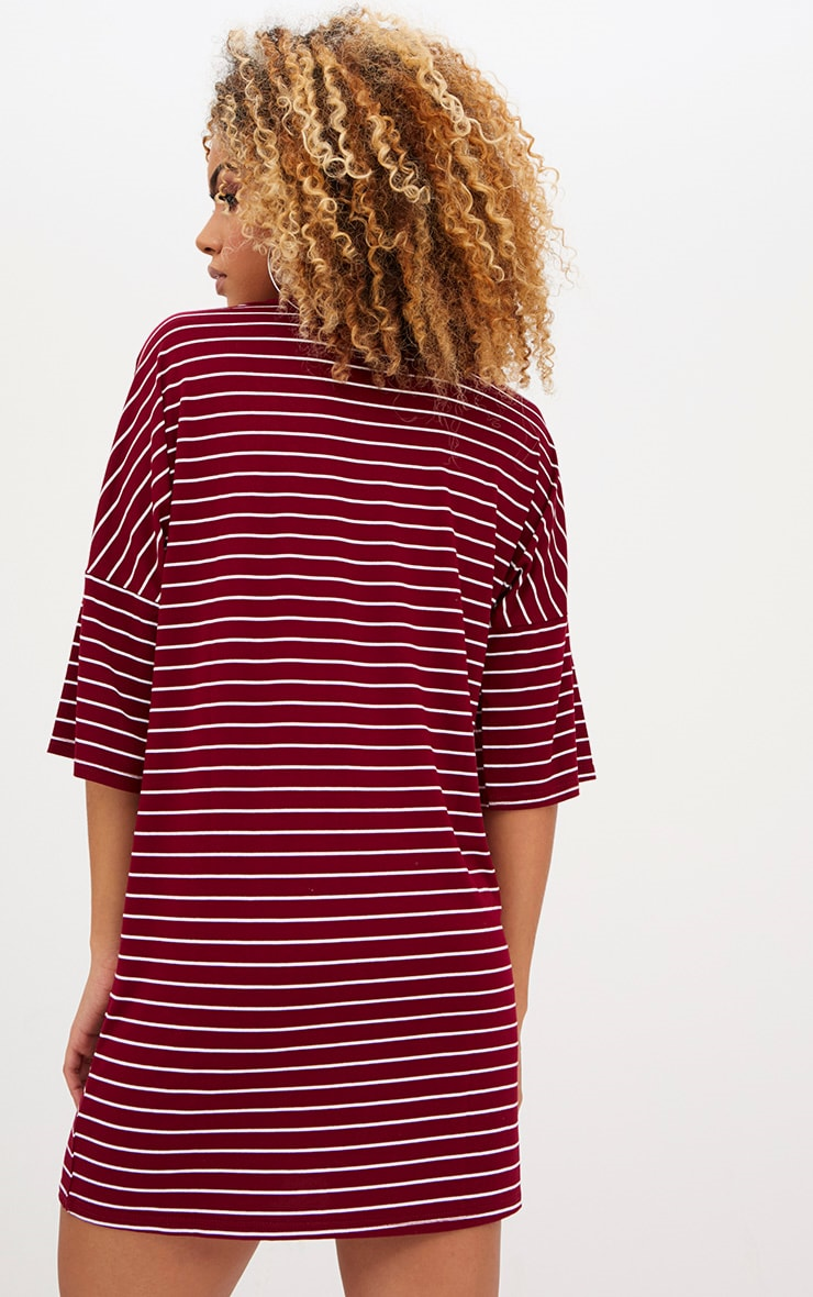 Burgundy Striped Oversized T Shirt Dress 2