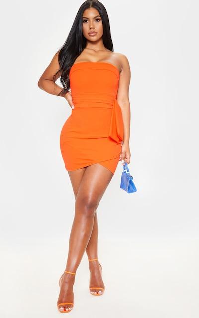 7d50a949af3 Orange Tie Waist Detail Bandeau Bodycon Dress