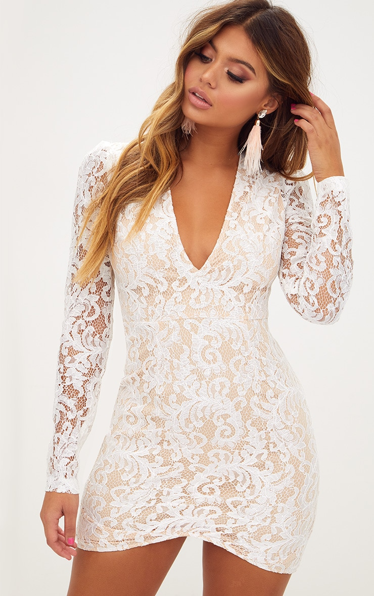 White Plunge Long Sleeved Lace Bodycon Dress  1