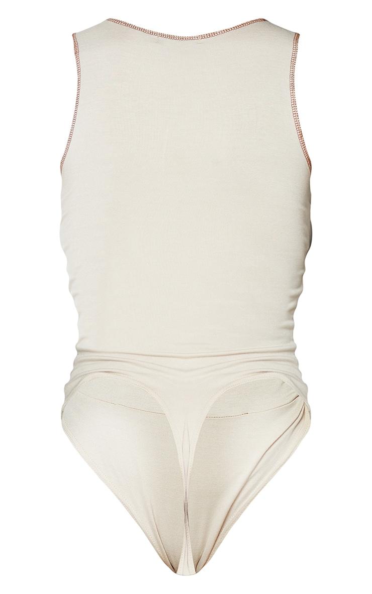 Stone Jersey Contrast Seam Detail Bodysuit 6