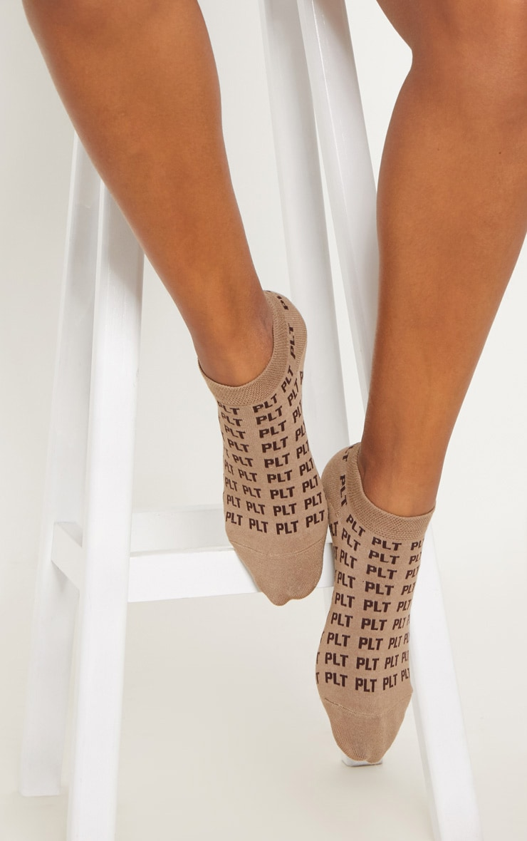 PRETTYLITTLETHING Light Brown Mono Trainer Socks 1