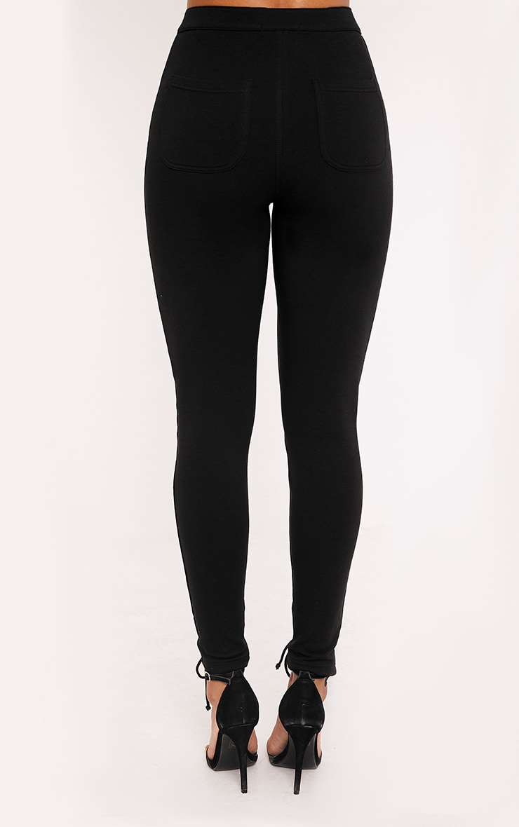Lynda Black Front Lace Up Skinny Pants 4