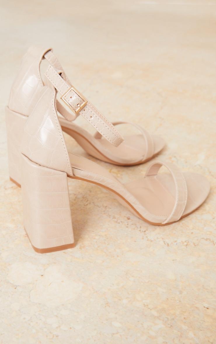 Nude Croc PU Block Heel Sandals 4