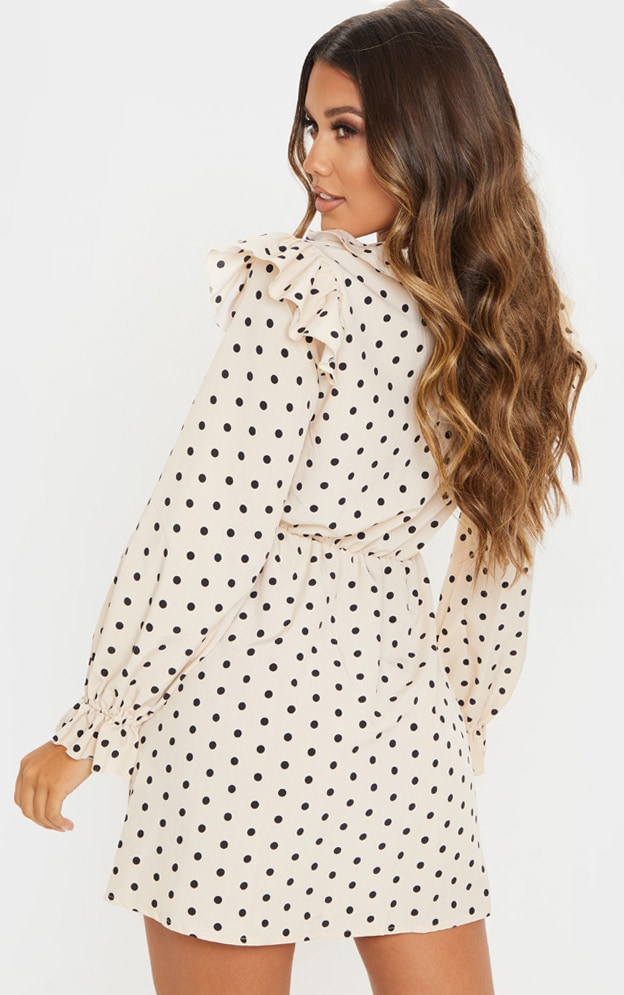 Cream Polka Dot Print Frill Detail V Neck Shift Dress 2