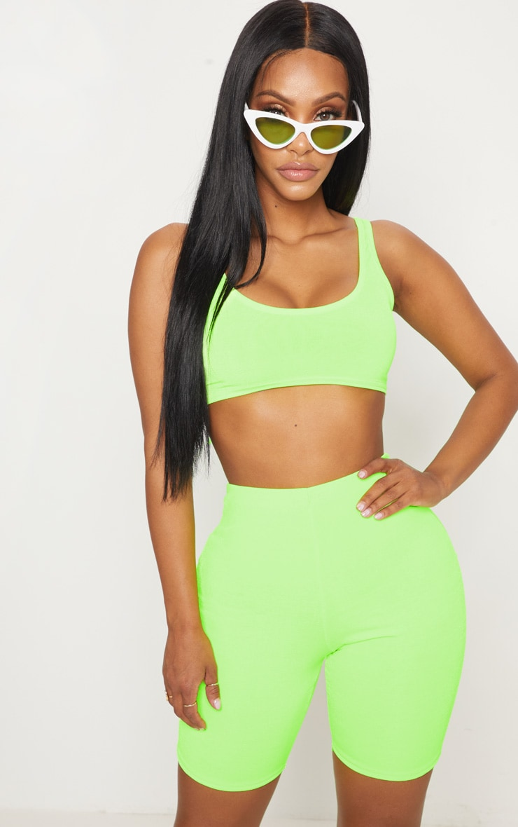 PRETTYLITTLETHING. SHAPE NEON LIME SLINKY CYCLING SHORTS b850914bc