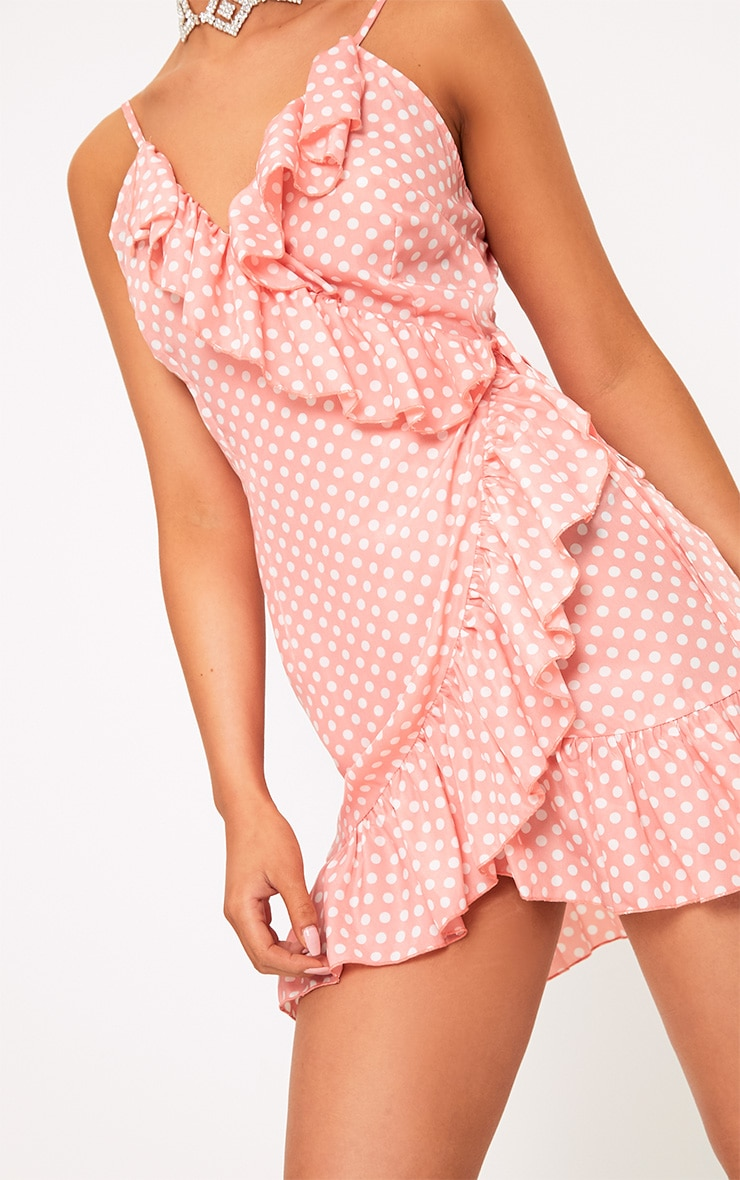 Pink Polkadot Wrap Over Shift Dress 5