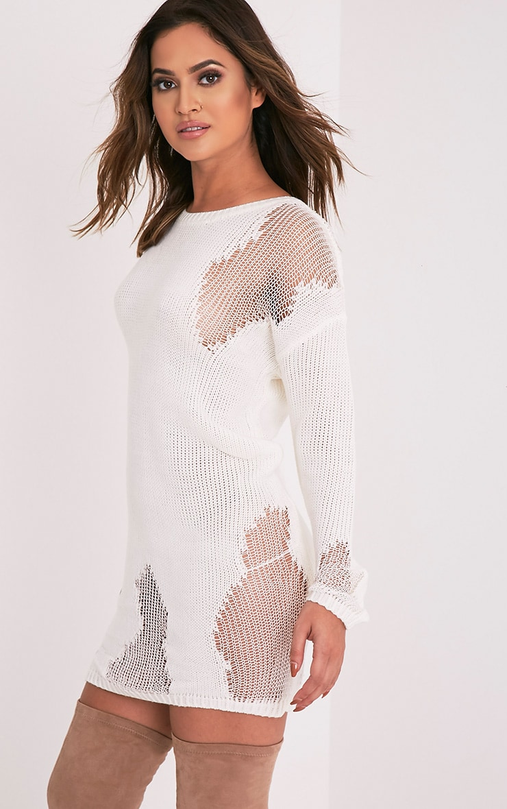 Romanae Cream Frayed Rip Knitted Jumper 4
