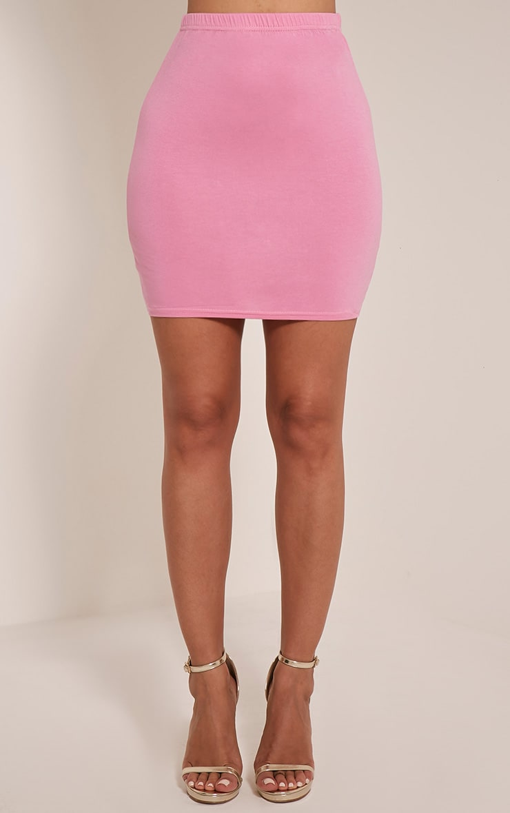 Basic Bubblegum Pink Jersey Mini Skirt 2