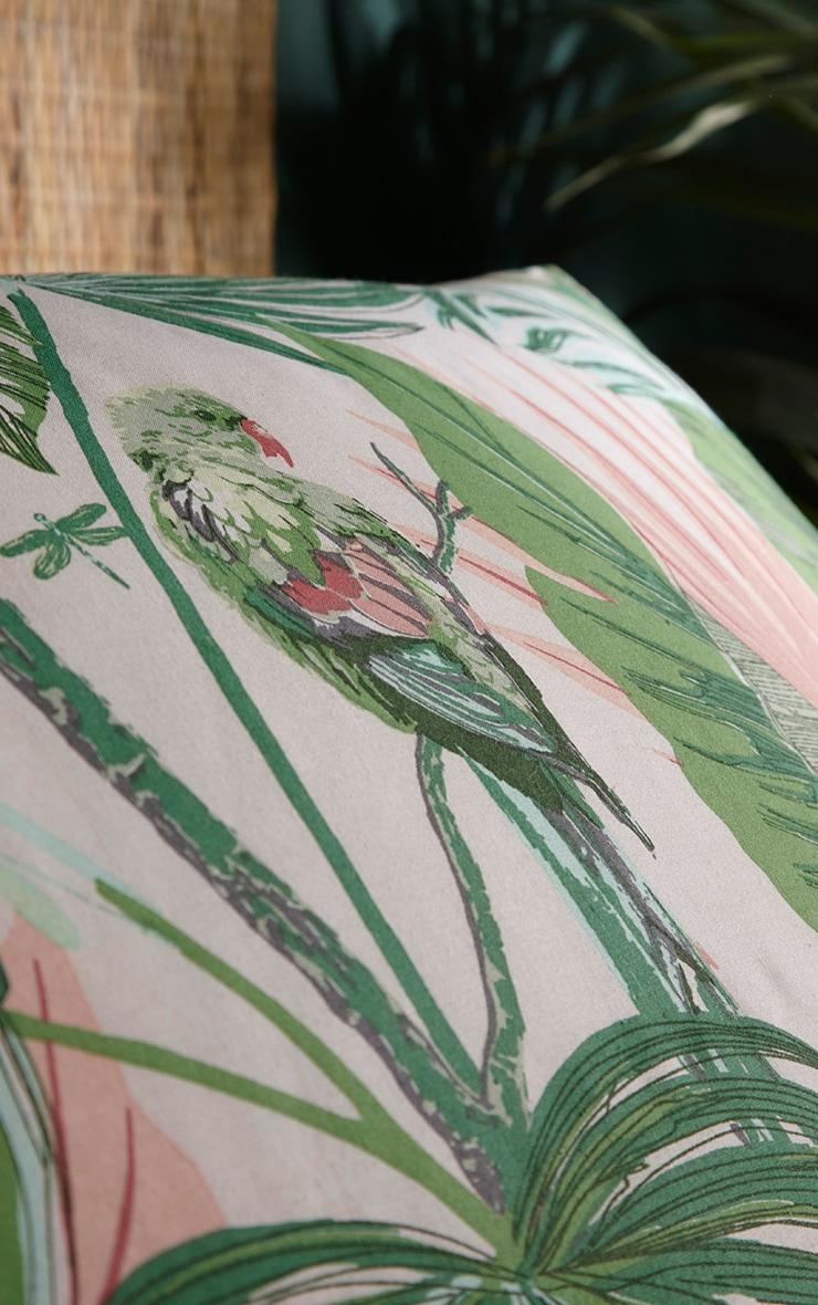Green Tropical Leaf Print King Duvet Set 2