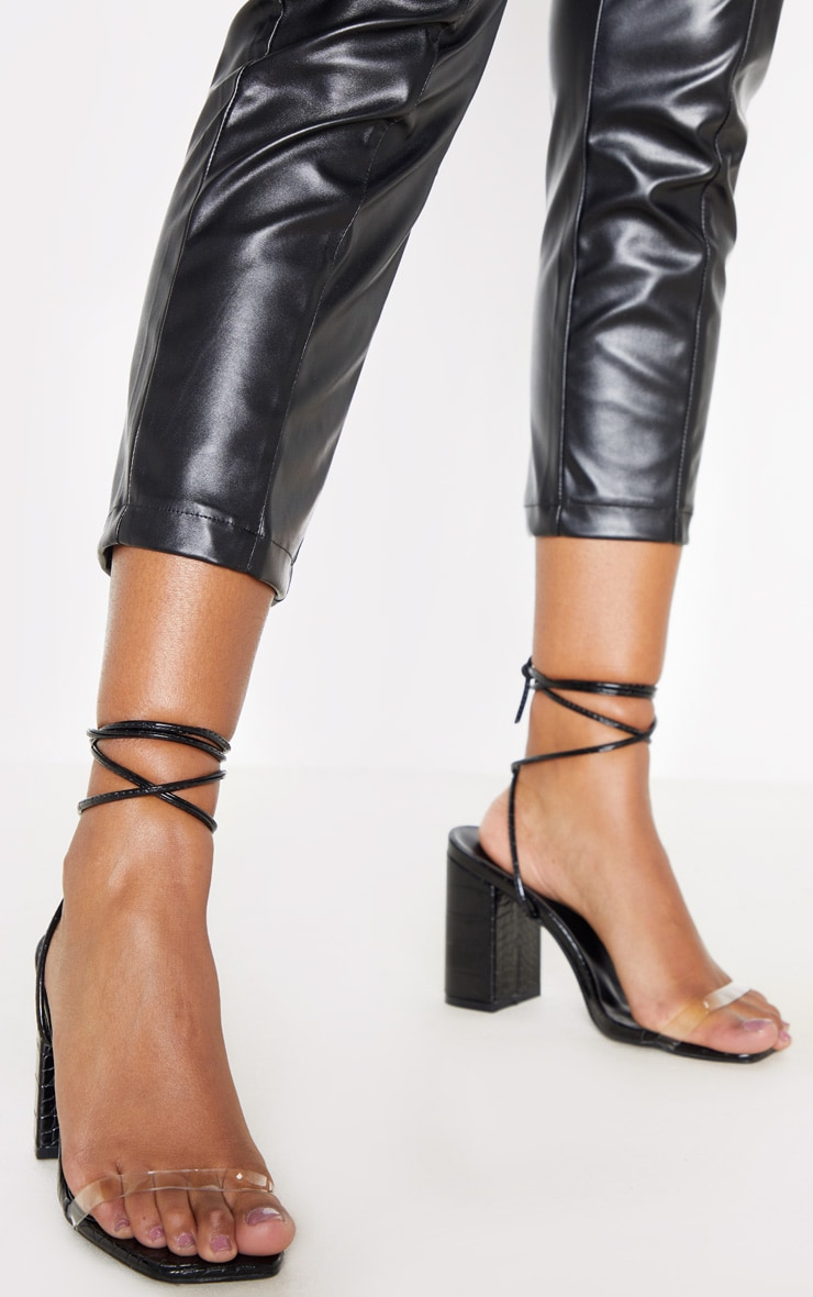 Black Ankle Lace Up Chunky Block Heel Sandal 2