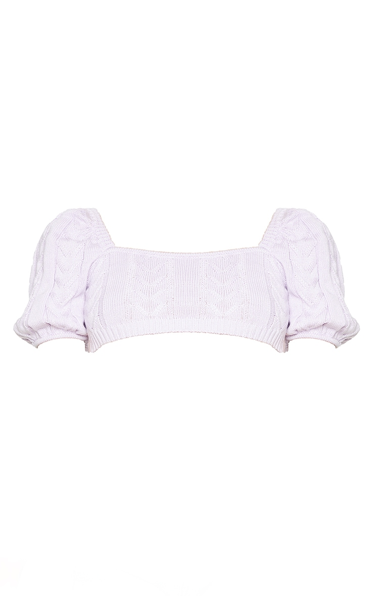 Lilac Cable Knitted Puff Shoulder Top 5