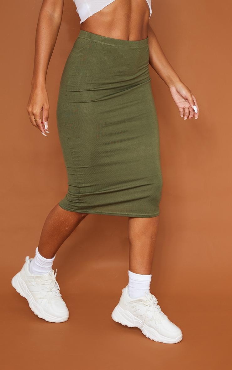 تنورة متوسطة الطول من قماش الجيرسي باللون الكاكي والأسود السادة - قطعتين 2