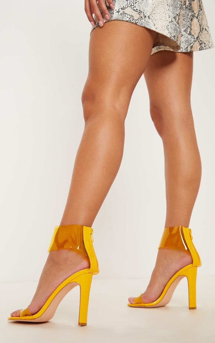 Yellow Flat Heel Clear Cuff Strappy Sandal