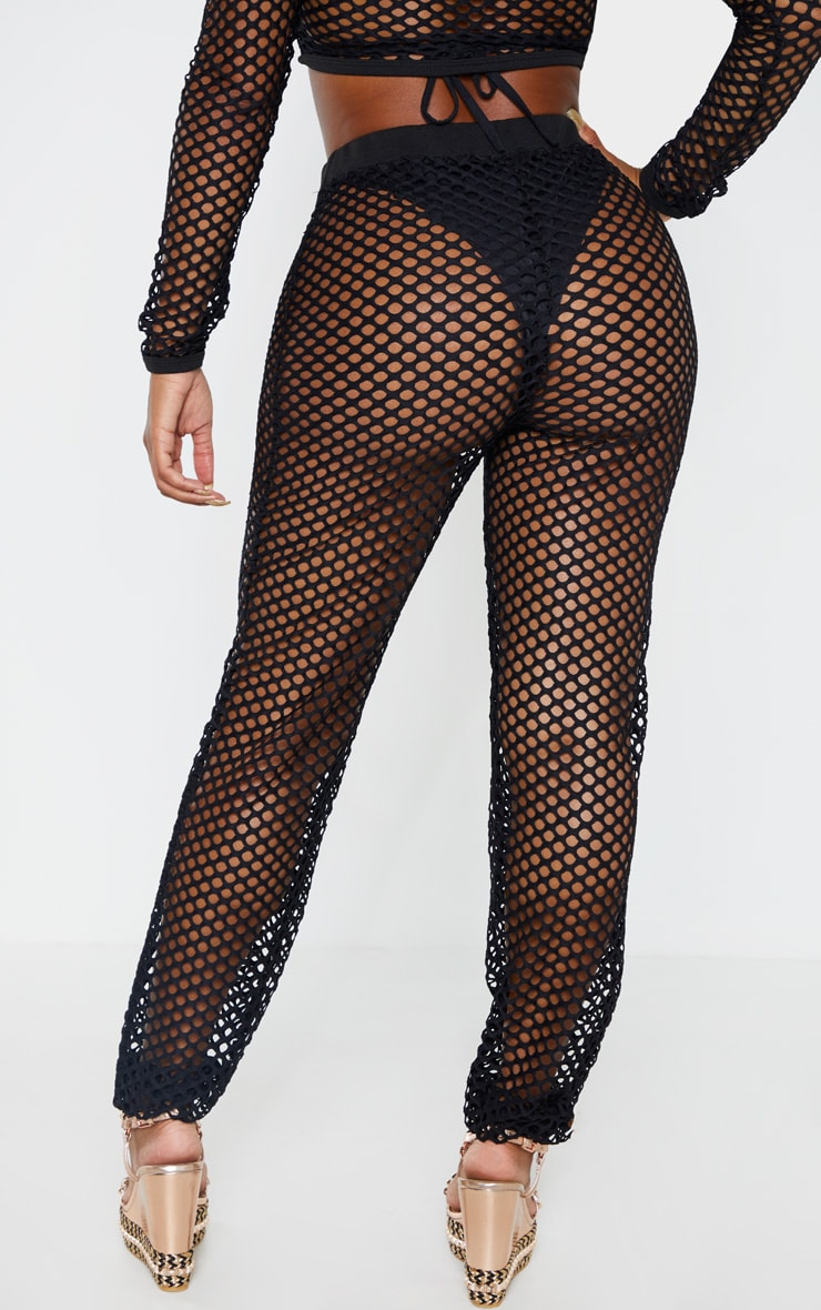 Shape Black Fishnet Wide Leg Pants 4