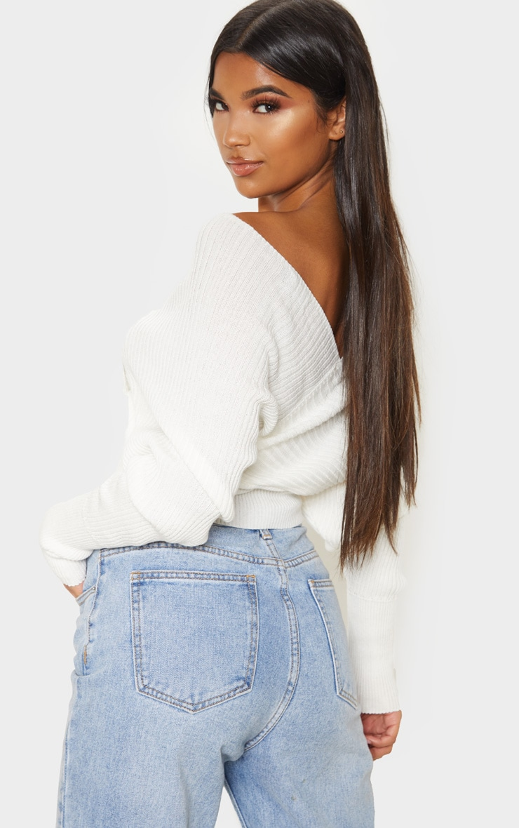 Ivory Wrap Off The Shoulder Jumper 2