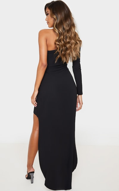 Black One Shoulder Drape Skirt Maxi Dress