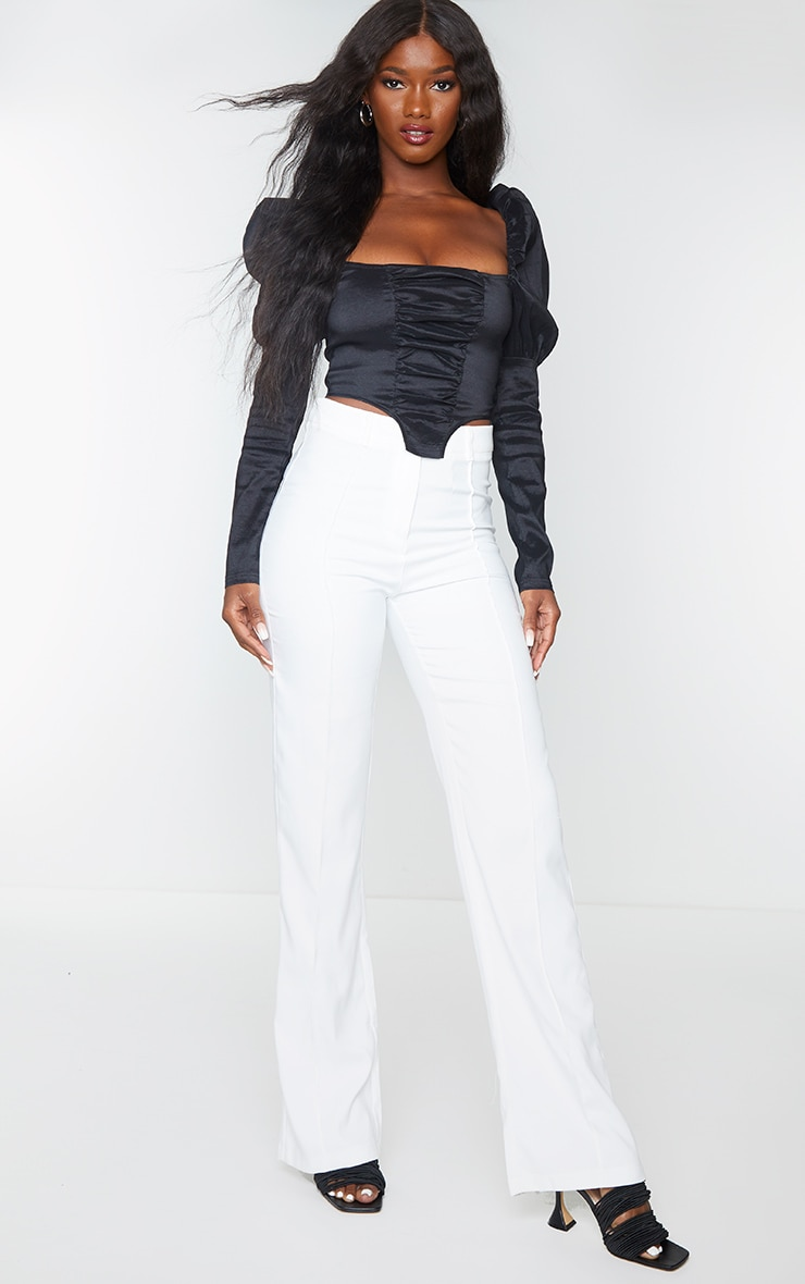 Black Woven Metallic Puff Long Sleeve Square Hem Crop Top 3