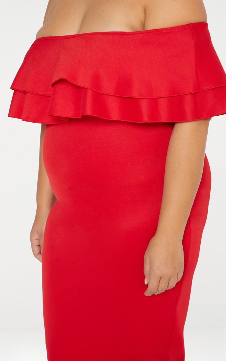 Plus Red Frill Bardot Midi Dress 4