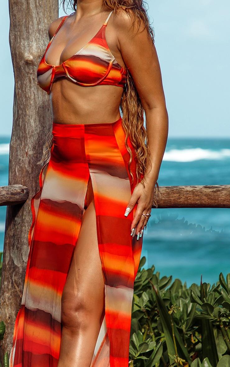 Orange Ombre Double Split Beach Maxi Skirt 4