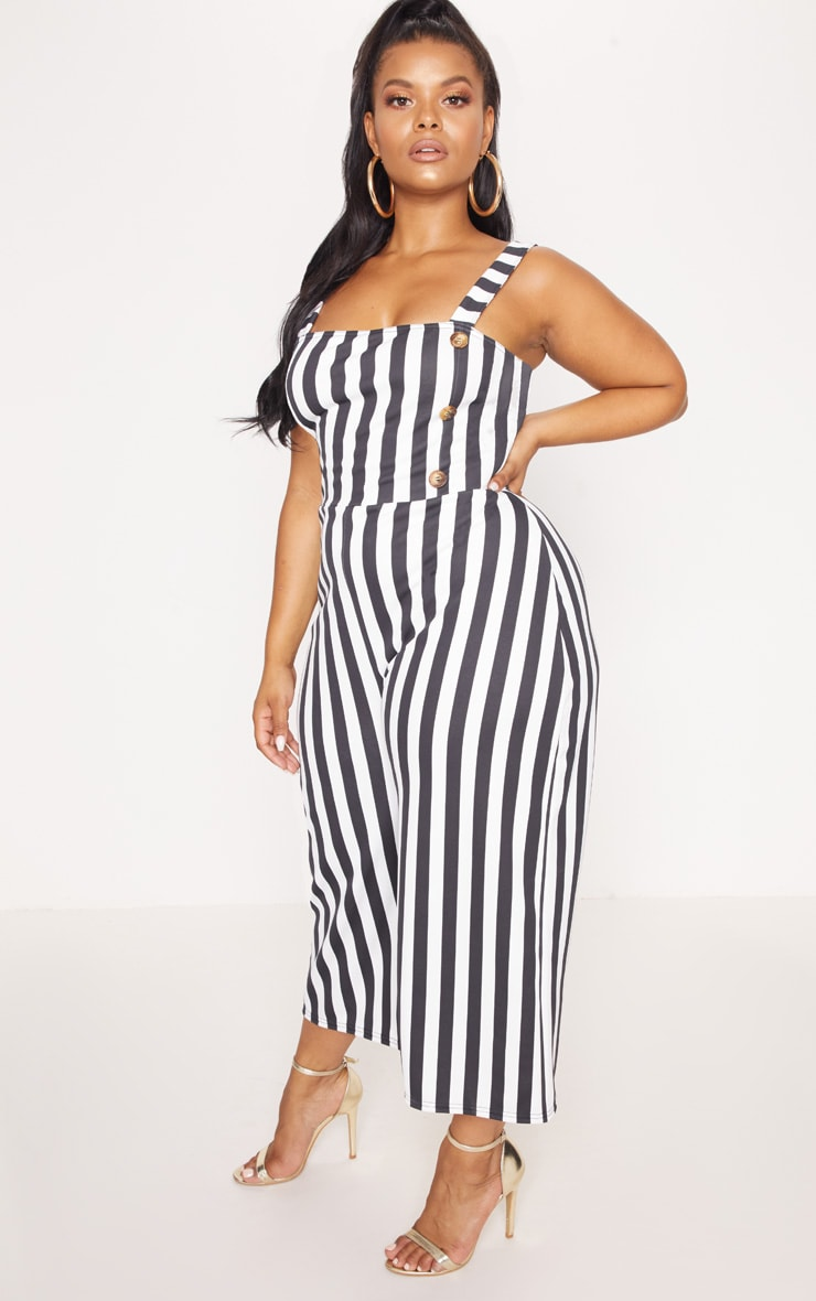 Plus Monochrome Stripe Tortoise Button Culotte Jumpsuit 4